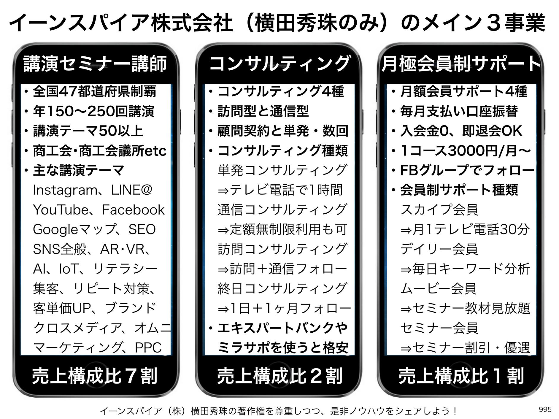 イーンスパイア株式会社(横田秀珠のみ)のメイン3事業